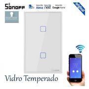 Interruptor inteligente Wi-Fi 2 Botões touch automação Smart RF 433.92 Mhz TX-T2US2C Sonoff - JS Soluções em Segurança