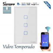 Interruptor Wifi Sonoff TX0 3 canais touch automação Smart branco TX-T0US3C