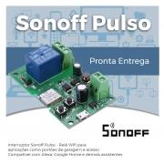Módulo Relé Wi-Fi DC 7V-12V-32V função pulso e travado Sonoff Pulso - JS Soluções em Segurança