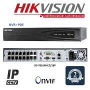 NVR 16 CANAIS IP 5 MEGAPIXELS HIKVISION DS-7616NI-E2 / 16P 16 Portas PoE