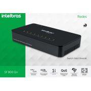 Switch intelbras 8 portas Fast Ethernet SF 800 Q+   - JS Soluções em Segurança