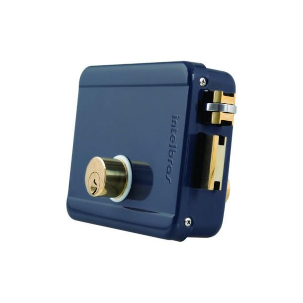 Fechadura elétrica de sobrepor cilindro fixo intelbras FX 2000 cinza - JS Soluções em Segurança