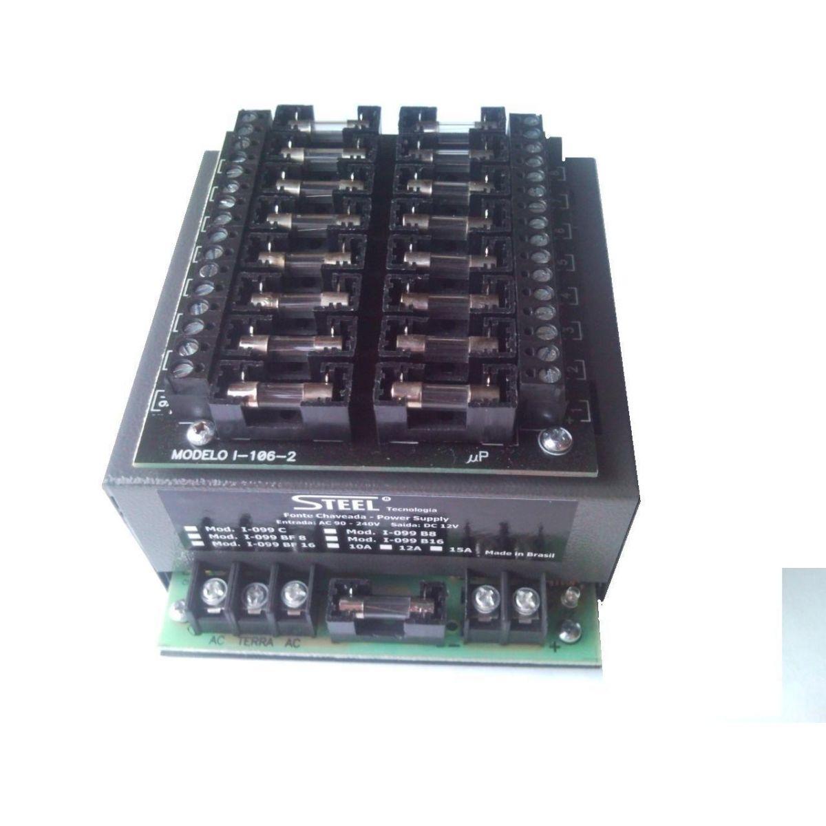 Fonte 12V 10 amper com 16 saídas proteção individual em fusível - JS Soluções em Segurança