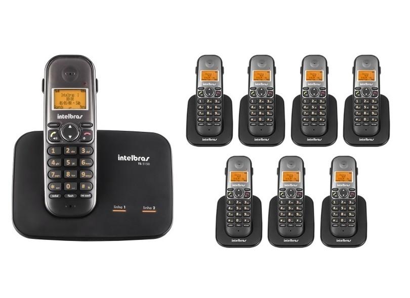 Telefone sem fio digital com entrada para 2 linhas e identificador Intelbras TS 5150 - JS Soluções em Segurança