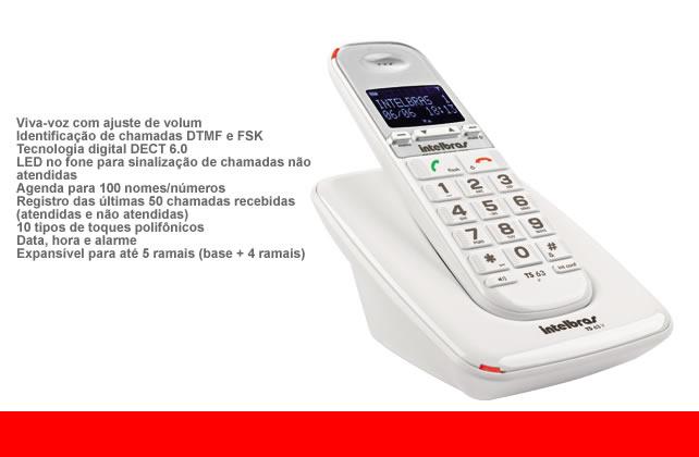 Telefone Intelbras sem fio digital TS 63V com identificação de chamadas e Viva-voz - Branco - JS Soluções em Segurança