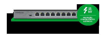 Switch Intelbras 9 portas Fast Ethernet com 8 portas PoE+  SF 900 PoE - JS Soluções em Segurança