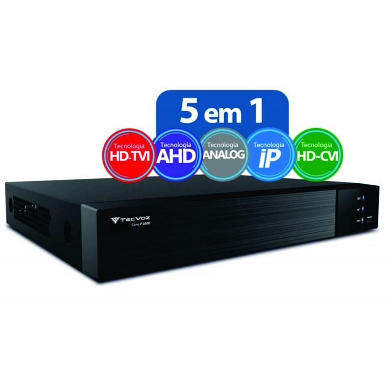 DVR Gravador Flex HD 5x1 16 canais + 2 canais IP TecVoz TV-E516  - JS Soluções em Segurança