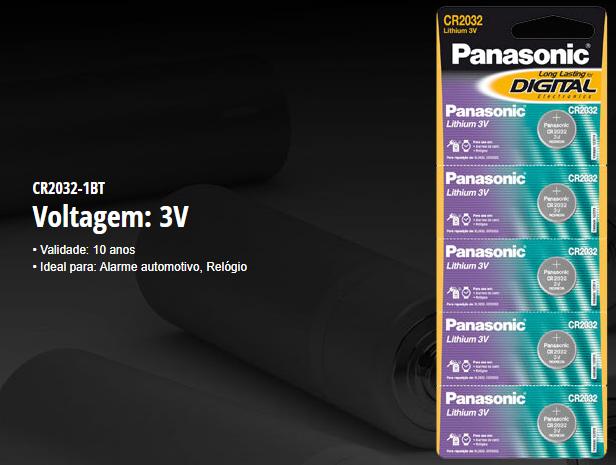 BATERIA CR2032 LITHIUM 3V PANASONIC  - JS Soluções em Segurança