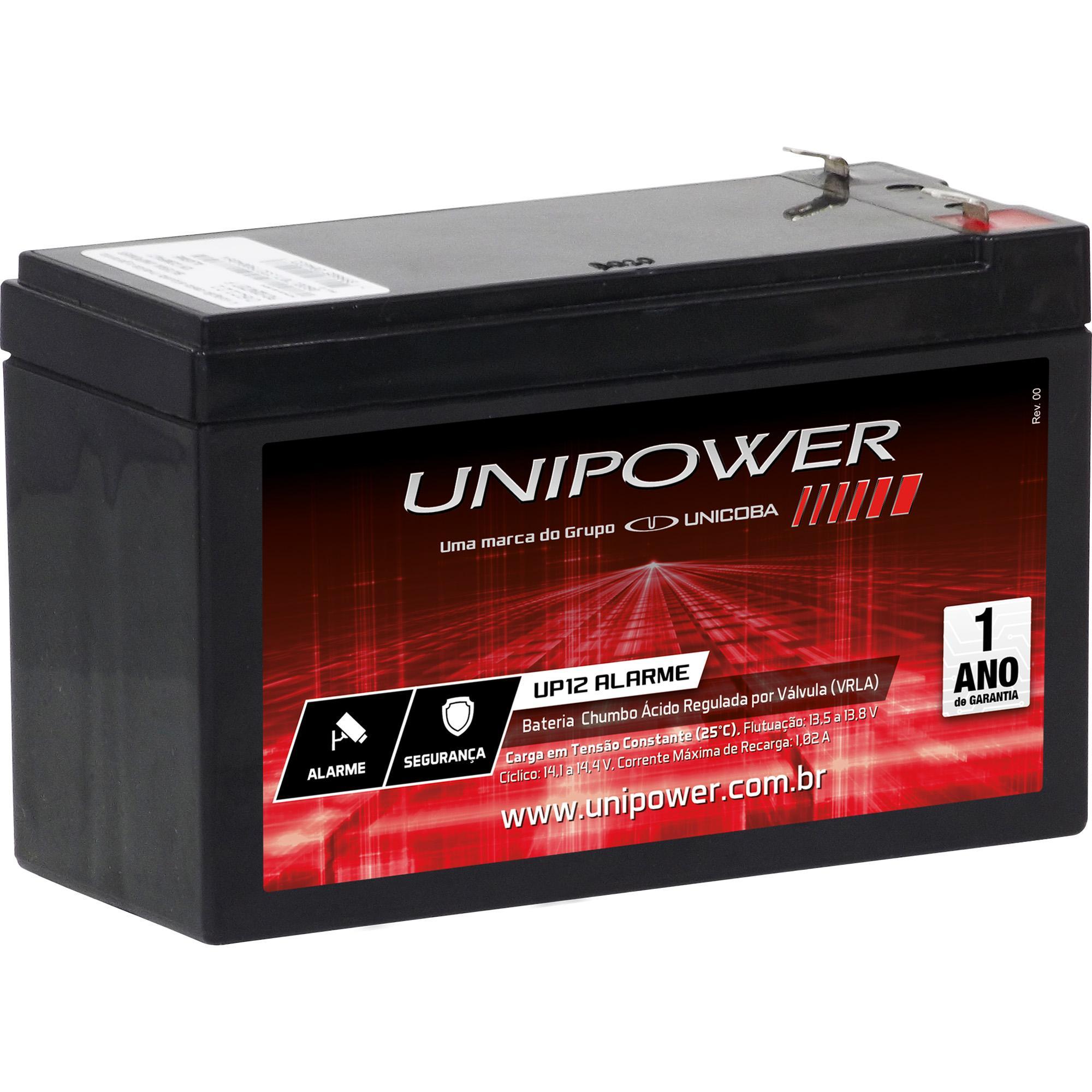 Bateria de alarme unipower Unicoba 12V 7A UP12 ALARME  - JS Soluções em Segurança