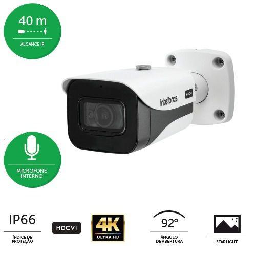 Câmera Bullet infra intelbras 8 megapixels c/ áudio/ HLC/ BLC/WDR 40mts VHD 5840 B 4k Starlight  - JS Soluções em Segurança