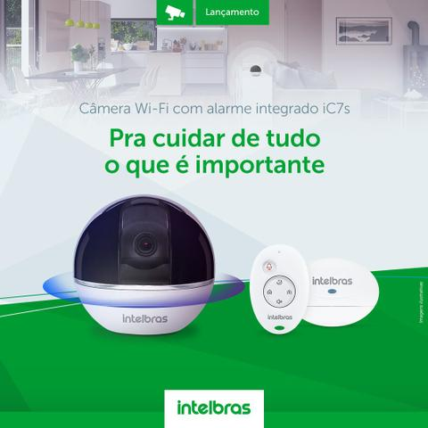 Câmera infra Wi-Fi 360° +iS3 Sensor de abertura +iR3 Controle remoto, Rj45 ou wifi, WDR, BLC, Onvif acompanha o movimento 1080p intelbras IC7 - JS Soluções em Segurança