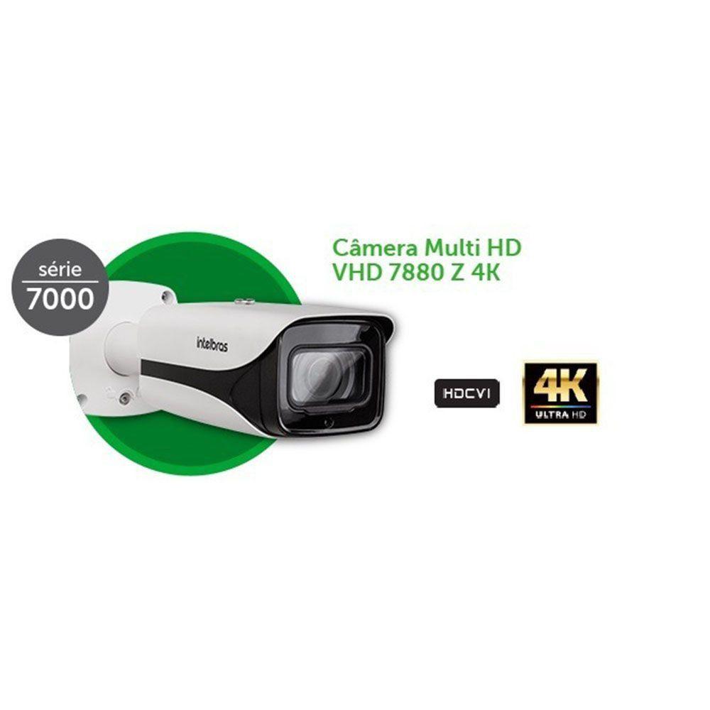 Câmera infra vermelho zoom motorizada de 2,7mm a 11mm autofoco 80mts BLC/ WDR/ HLC/HDCVI 8 Megapixels intelbras VHD 7880 Z 4K - JS Soluções em Segurança