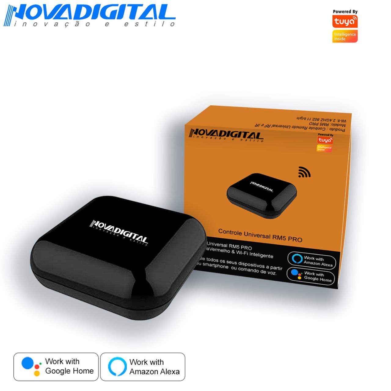 Controle Inteligente Wi-Fi infravermelho RF 433/315MHZ NovaDigital by Tuya RM5 PRO Google Home & Alexa - JS Soluções em Segurança