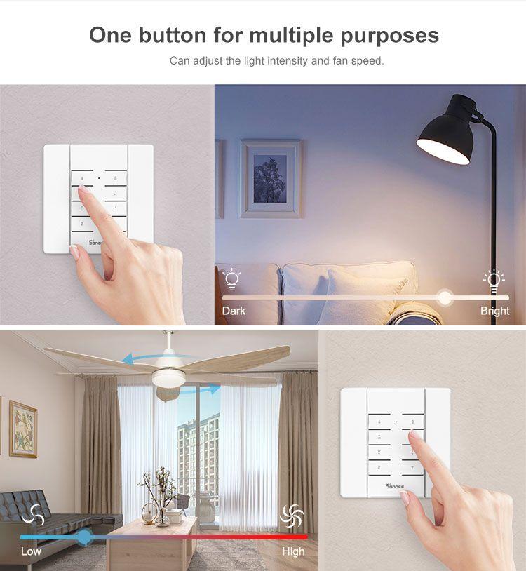 Controle remoto 8 botões multiuso personalizado 433 mhz RF funciona com Sonoff RM433 + BASE + Pilhas - JS Soluções em Segurança