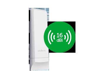 CPE 5 GHz com antena de 16 dBi SiSo 1x1 WOM 5A 4km - JS Soluções em Segurança