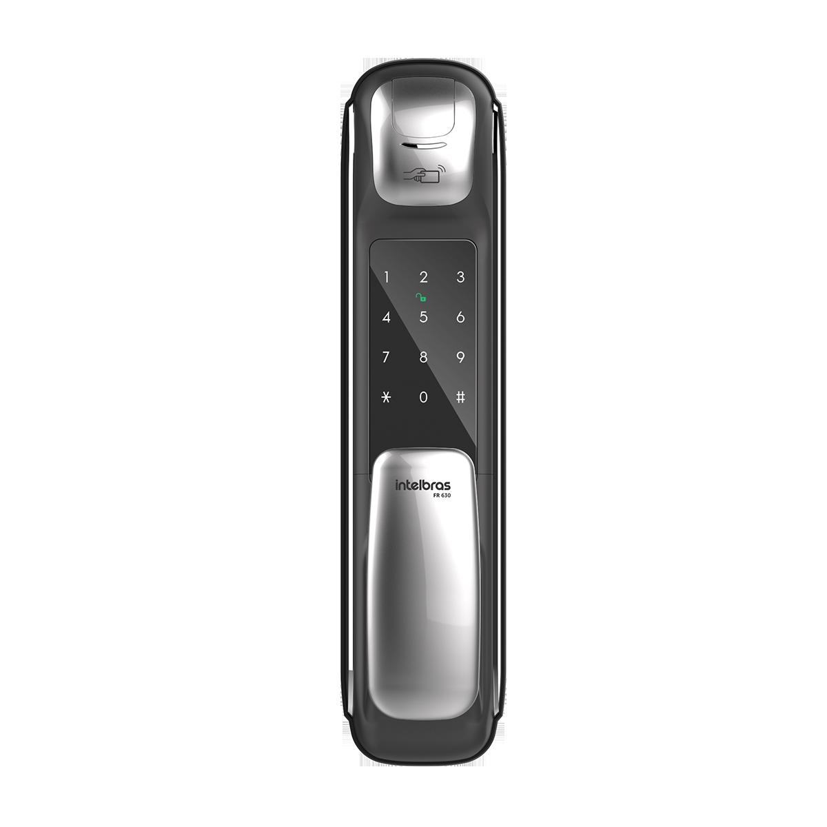 Fechadura Digital Push & Pull com biometria 4 tipos de acessos intelbras FR 630 - JS Soluções em Segurança