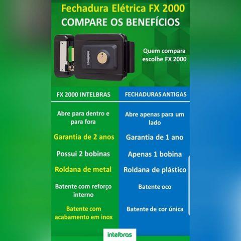 Fechadura elétrica 12V portão Eletrônico intelbras FX 2000 PRETA - JS Soluções em Segurança