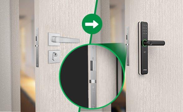 Fechadura Smart de embutir com maçaneta senha,biometria,tags e 2 chaves intelbras IFR 7000 - JS Soluções em Segurança
