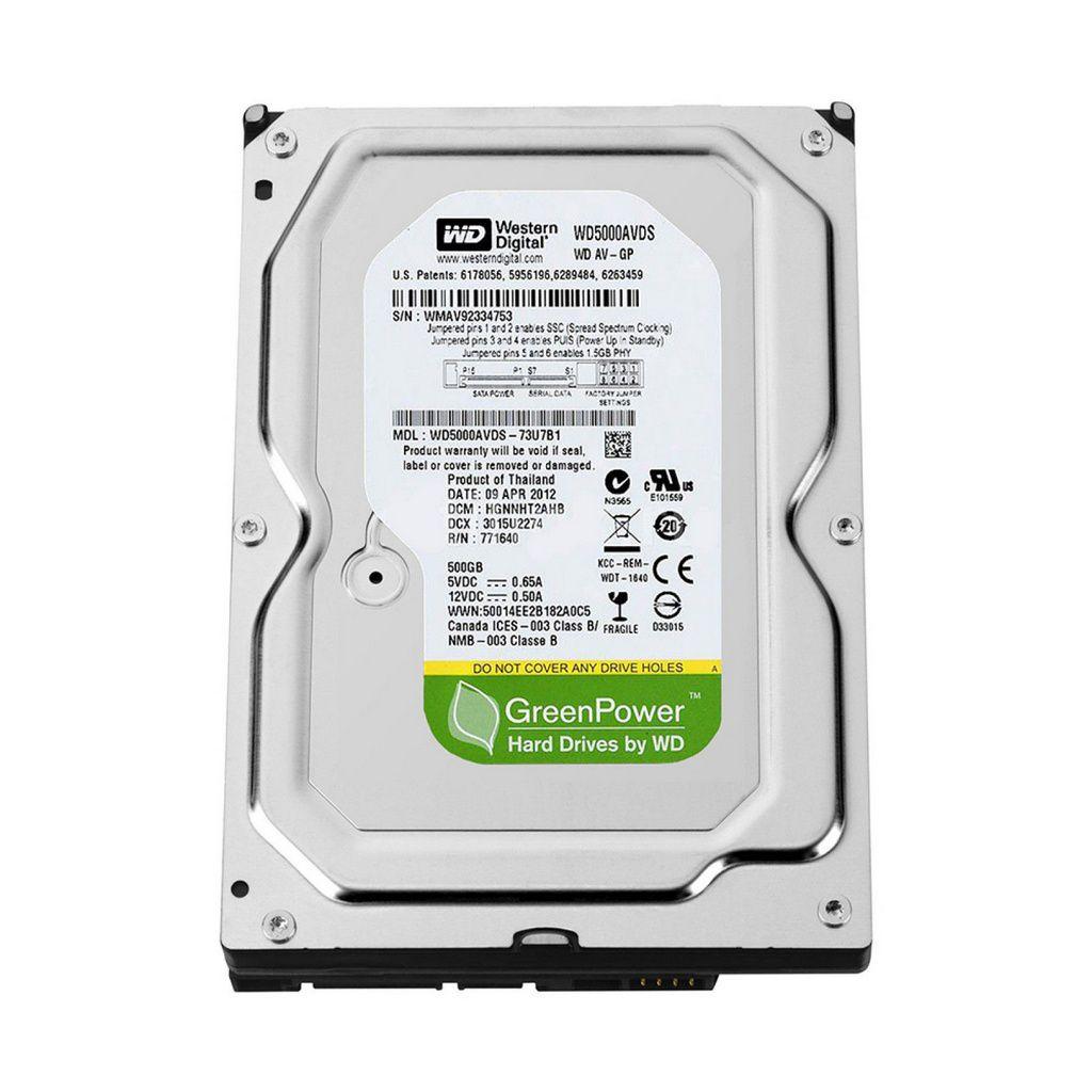 Hd Western Digital 500gb Sata 3gbs 7200rpm Wd Green Power - JS Soluções em Segurança