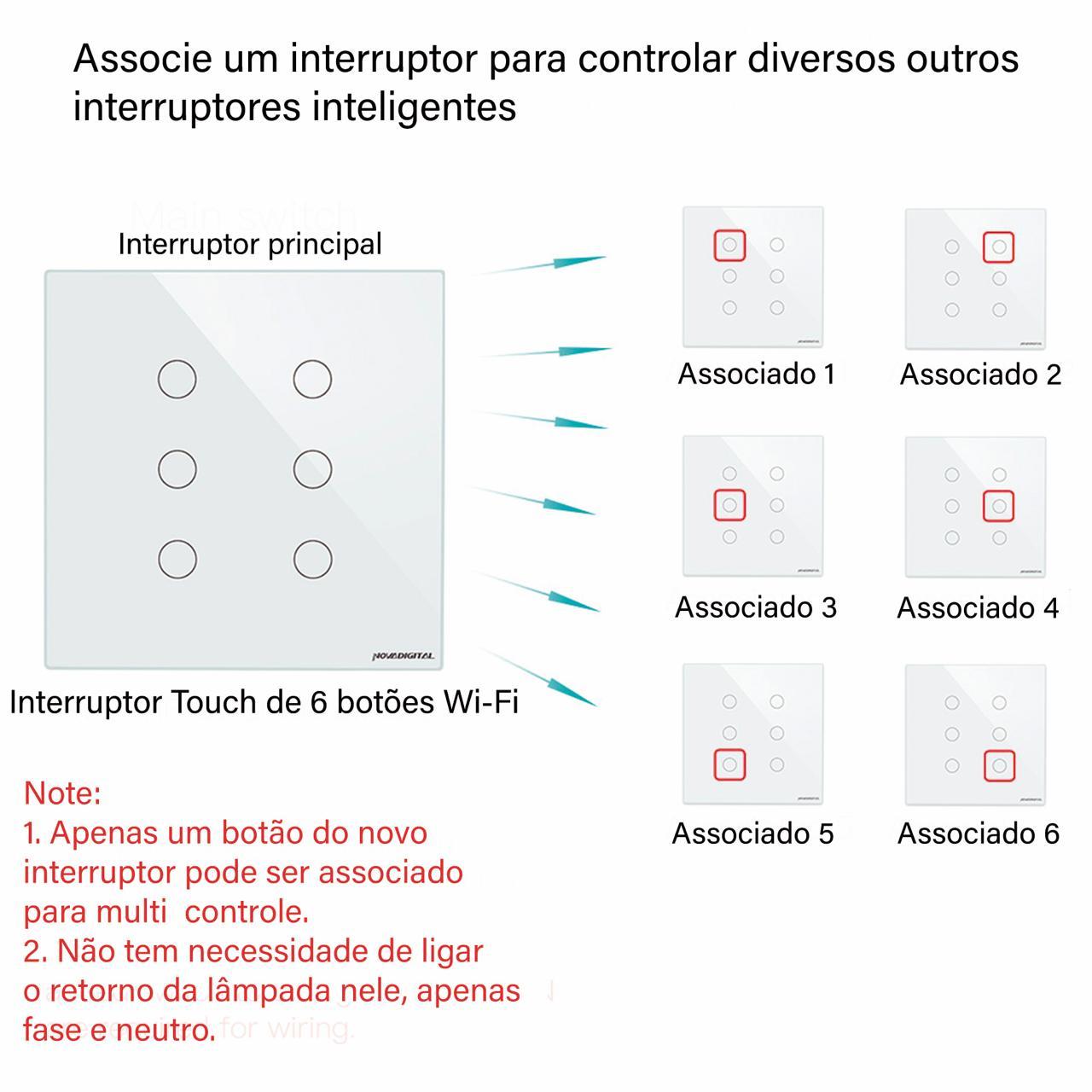 Interruptor inteligente 6 Botões touch screen 4X4 Wi-Fi WS-US-RF Novadigital by Tuya - JS Soluções em Segurança