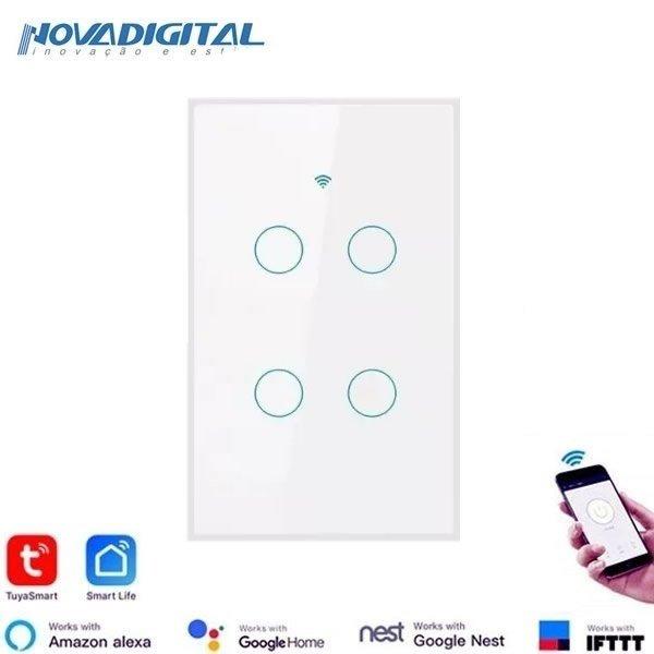 Interruptor inteligente Smart 4 Botões Touch Wi-Fi White RF 433.92 Mhz Novadigital  - JS Soluções em Segurança