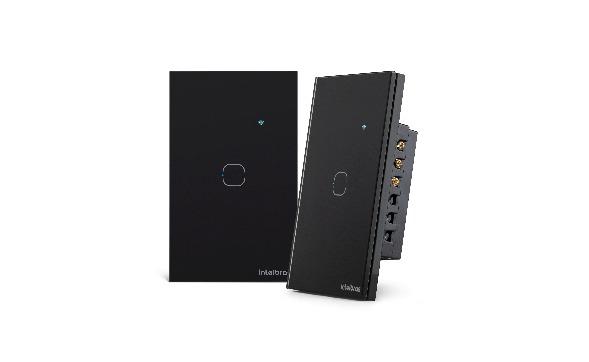 Interruptor touch smart Wi-Fi 1 Botão 4x2 Intelbras EWS 1001 preto - JS Soluções em Segurança
