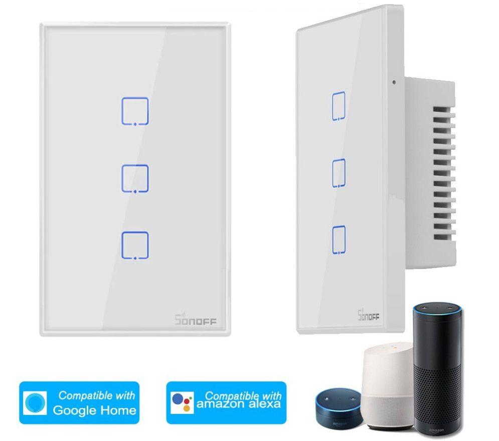 Interruptor Wifi Sonoff TX2 3 canais touch automação Smart RF 433.92 Mhz - JS Soluções em Segurança