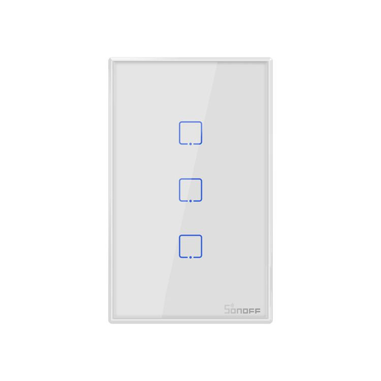 Interruptor Wifi Sonoff TX0 3 canais touch automação Smart branco TX-T0US3C - JS Soluções em Segurança