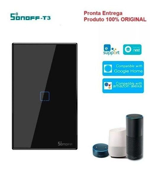 Interruptor inteligente Wi-Fi TX3 1 Botão touch automação Smart RF 433.92 Mhz preto Sonoff - JS Soluções em Segurança