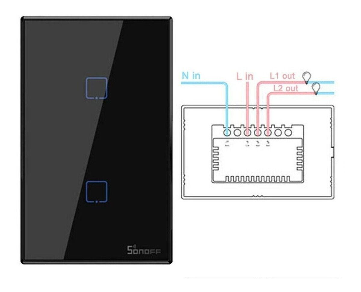 Interruptor inteligente Wi-Fi TX3 2 Botões touch automação Smart RF 433.92 Mhz preto Sonoff - JS Soluções em Segurança