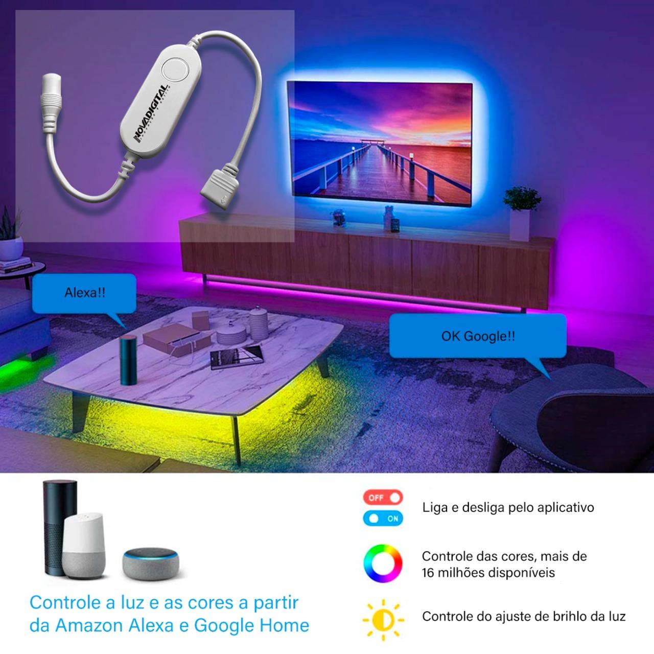 KIT Fita LED Inteligente RGB 16 milhões de cores Wi-Fi 5mts 12V - JS Soluções em Segurança