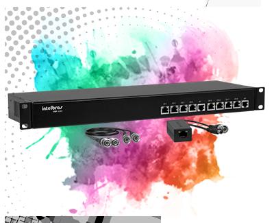 Kit Power balun intelbras 19/1U receptor e transmissor 08 canais RJ45 Vídeo e Alimentação até 300mts Full HD VBP A08C Full HD 1080p - JS Soluções em Segurança