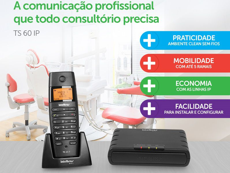 Microcentral IP sem fio = 1 MINICENTRAL + 1 TELEFONE |aceita até 4 contas IP e telefonia fixa, sem fio  TS 60 IP DECT Intelbras  - JS Soluções em Segurança