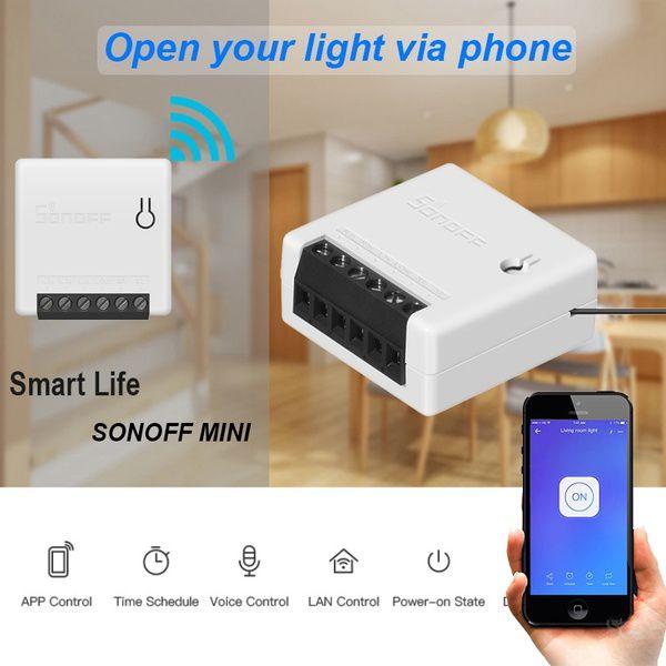 Mini Sonoff Diy interruptor 1 canal 10A paralelo compatível com assitente de Voz - JS Soluções em Segurança