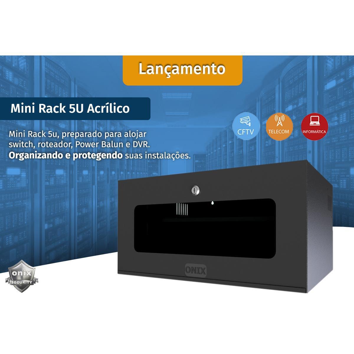 Mini Rack 5U Organizador CFTV, Informática, Telecom - padrão 19