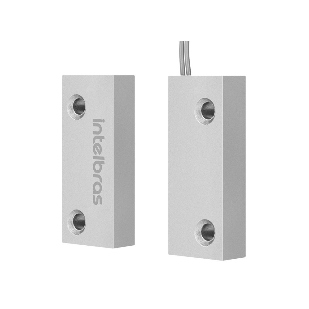 Mini sensor de abertura magnético com fio intelbras xas porta de aço - JS Soluções em Segurança