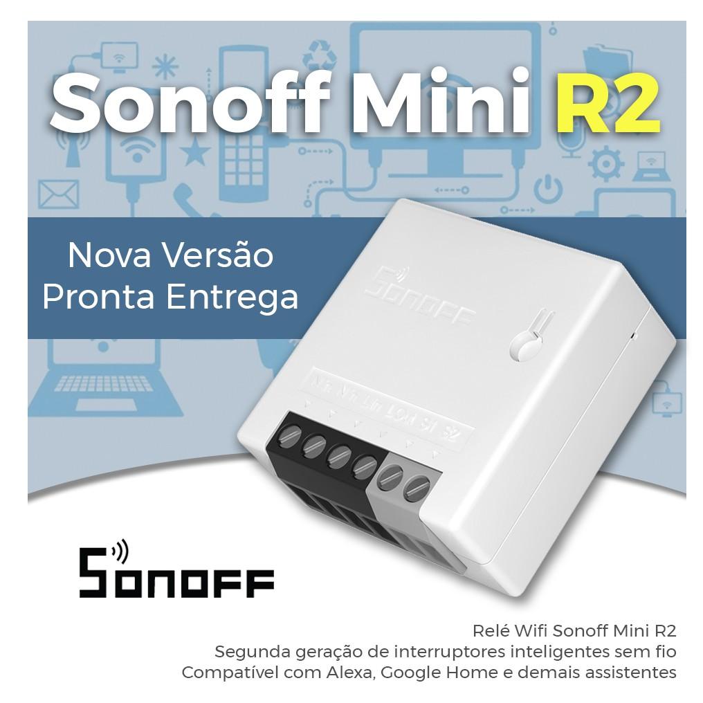 Interruptor inteligente Wi-Fi 1 canal 10A compatível com assitênte de voz Sonoff Mini R2 - JS Soluções em Segurança