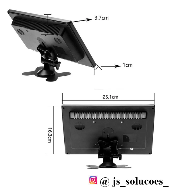 Monitor LCD Color 10 polegadas alta resolução 2 entradas video rca  + 1 VGA + 1 HDMI + fonte 12V 3A - JS Soluções em Segurança