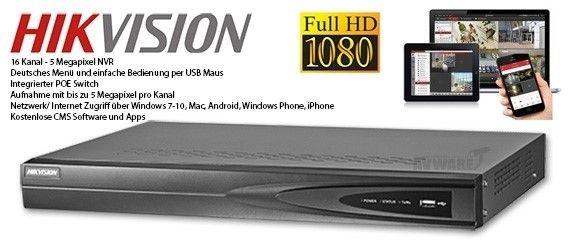 NVR 16 CANAIS IP até 6 MEGAPIXELS HIKVISION DS-7616NI-E2 / 16P 16 Portas PoE - JS Soluções em Segurança