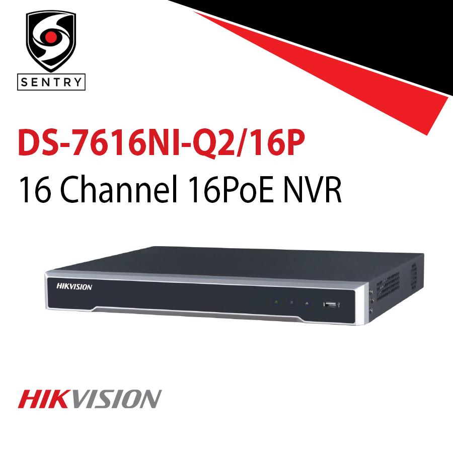 NVR Ultra HD 16 canais PoE Hikvision 4k DS-7616NI-Q2/16P   - JS Soluções em Segurança