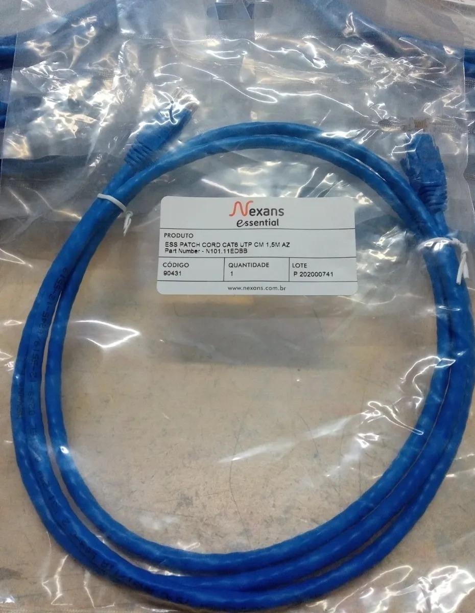 Patch Cord Cat6 1,5 Metros Nexans azul - JS Soluções em Segurança