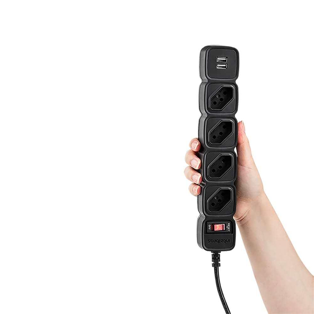 Protetor Eletrônico 4 Tomadas e 2 USB Intelbras EPE 204 USB Preto (4824205) - JS Soluções em Segurança