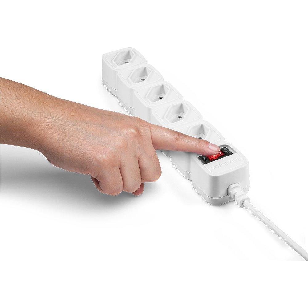 Protetor eletrônico com 5 tomadas - EPE 205+ branco (Cód. 4824202) - JS Soluções em Segurança