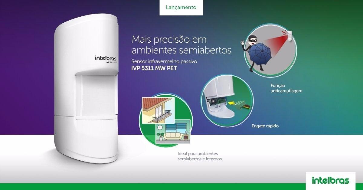 Sensor infra micro-ondas, anticamuflagem, imunidade a RFI/EMI e PET 20KG Intelbras IVP 5311MW PET - JS Soluções em Segurança