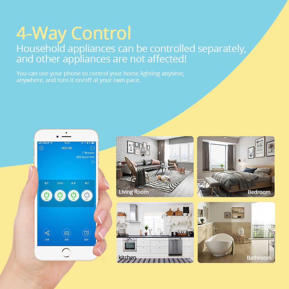 Sonoff 4 canais Rev2 Interruptor Wifi Automação residencial Smart - JS Soluções em Segurança