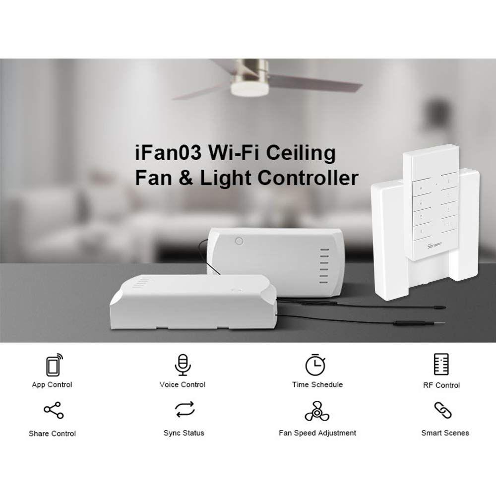 Sonoff para ventilador de teto Wi-Fi controlador de ventilador e luz iFan03 - JS Soluções em Segurança