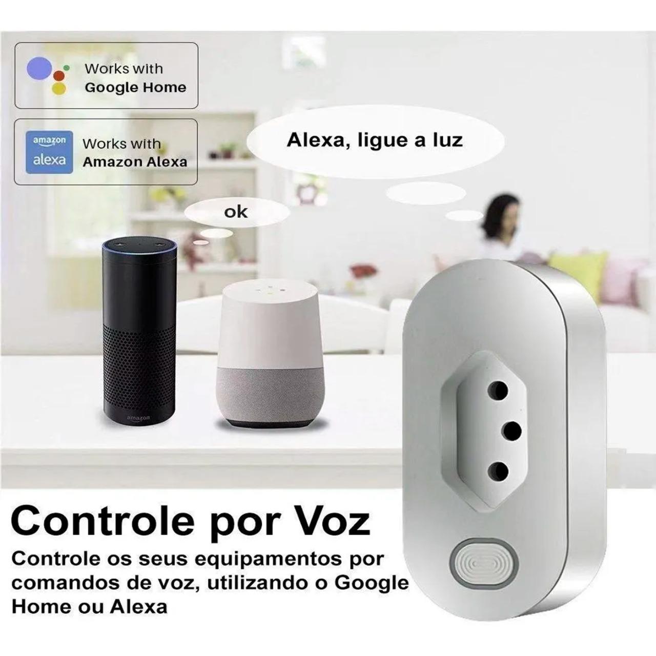 Tomada Inteligente Wi-Fi 16A com monitoramento de consumo compatível com Alexa e Google Home - JS Soluções em Segurança