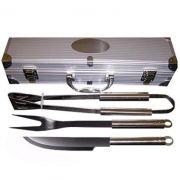 Kit Churrasco com Maleta em alumínio - 3 Peças de inox - RPC-COMMERCE