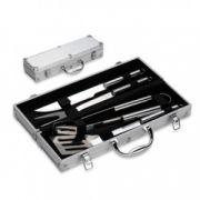 Kit Churrasco com Maleta em alumínio - 4 Peças de inox - RPC-COMMERCE