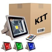 Kit com 10 Refletores Holofotes Led RGB 10W Controle 16 Cores​ - RPC-COMMERCE